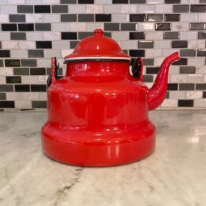 VTG Enamel Romanian Bright Red Tea Kettle